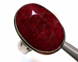 44.50 CTS -FACETED RUBY RING SILVER SJ-1036