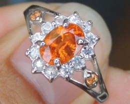 Mandarin Garnet & Sapphire Ring