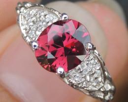 Precision Cut Rhodolite & Sapphire Ring