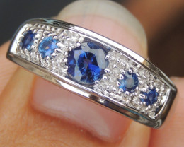 Royal Blue Kayanite & Sapphire Ring