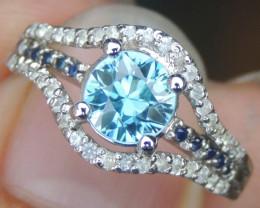 Cambodian Blue Zircon & Sapphire Ring