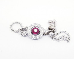 Natural Rubellite bracelet with Cubic Zirconia