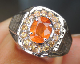 Fanta Spessartite Garnet  & Sapphire Ring