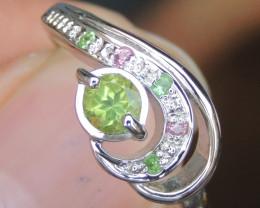 Peridot w/ Tsavorite & Sapphire Ring
