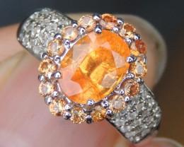 Spessartite  & Sapphire Ring
