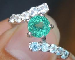 Paraiba color Apatite & Sapphire Ring
