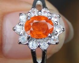 Mandarin Spessartite & Sapphire Ring