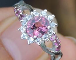 Malaya Garnet  w/ Tourmaline & Sapphire Ring