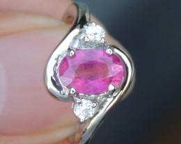 Rubelite Tourmaline  & Sapphire Ring