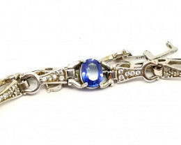 Natural Royal Blue Srilankan Sapphire Silver Bracelet With Cubic Zirconia
