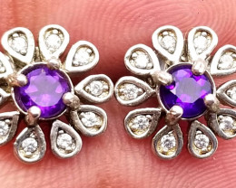 Natural Top Color Amethyst Silver Earrings With Cubic Zirconia