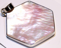 39 CTS PEARL-SHELL PINK PENDANT 925 SILVER  SJ-1037