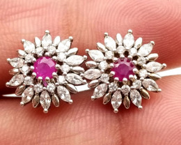 Burma Ruby Natural Silver 925 Earrings With Cubic Zirconia