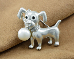 Cultured Pearl Cute Doggy Brooch
