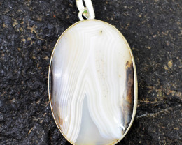Genuine 120.00 Cts Agate Tibet Silver Pendant