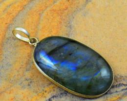 Genuine 55.00 Cts Blue Flash Labradorite Pendant