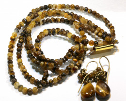 103 CTS TIGER EYE BEAD NECKLACE EARRING SJ-1046