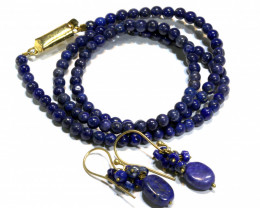 65.5 CTS LAPIS BEAD NECKLACE WITH EARRING SJ-1048