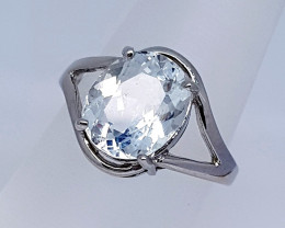 Natural Blue Aquamarine Ring 925 Sterling Silver Ring