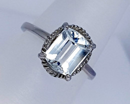Natural Light Blue Aquamarine Ring 925 Sterling Silver
