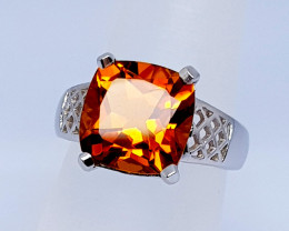 Natural Citrine 19 Carats 925 Silver Ring