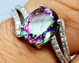 Stunning Mystic Topaz Ring 925 Sterling Silver Ring.