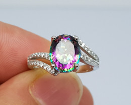 17.50 carat mystic topaz 925 silver ring , multi-color.