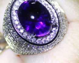 Amethyst 6.46ct Platinum Finish Solid 925 Italian Sterling Silver Mens and