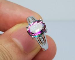 18.00 carat nice mystic topaz 925 silve ring, size 7, 10x8x6 mm.