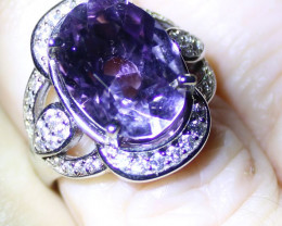 Amethyst 5.80ct Platinum Finish Solid 925 Italian Sterling Silver Ring