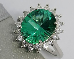 Mystic Green Topaz and Zircon Ring 6.25 TCW