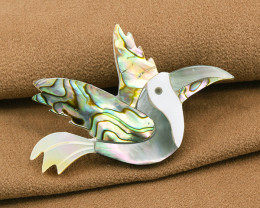 "Exquisite Hand-made ""Bird of Paradise"" Shell Brooch"