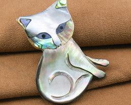Quirky Hand-made 'Kitty' Shell Brooch