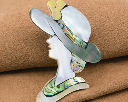 Hand-made Abalone & Mother-of-Pearl Shell Brooch