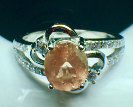 1.20 Ct Natural Sunstone Top Quality Gemstone Silver 925 Ring. DSS 84
