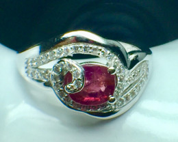 0.78 Ct Natural Ruby Unheated Mozambiq Quality Gemstone. Silver925 Ring. DR