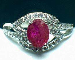 1.01 Ct Natural Ruby Unheated Mozambiq Quality Gemstone. Silver925 Ring. DR