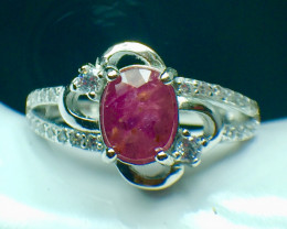 1.31 Ct Natural Ruby Unheated Mozambiq Quality Gemstone. Silver925 Ring. DR