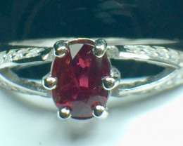 0.80 Ct Natural Ruby Unheated Mozambiq Quality Gemstone. Silver925 Ring. DR