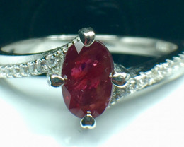 0.82 Ct Natural Ruby Unheated Mozambiq Quality Gemstone. Silver925 Ring. DR