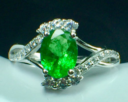 1.11 Ct Natural Tsavarite Garnet Beautifulist Gemstone Silver925 Ring. DTS