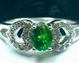 0.45 Ct Natural Tsavarite Garnet Beautifulist Gemstone Silver925 Ring. DTS