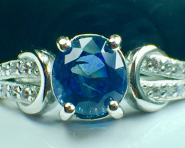 1.29 Ct Natural Blue Sapphire Good Quality Gemstone Silver925 Ring. DBS 95