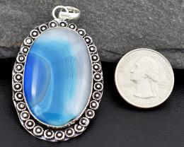 Genuine 109.00 Cts Tibet Silver Onyx Pendant