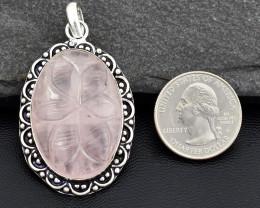 Genuine 78.00 Cts Flower Carved Pink Rose Quartz Pendant