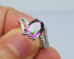 16.65 carat nice mystic topaz 925 silver ring, size 7, 10x8x6 mm.