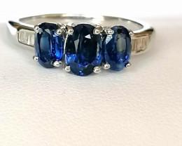 Kyanite and Diamond Ring 2.19 TCW