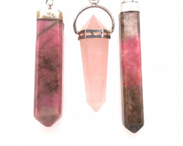 Three natural terminated Point Pendants BR 2431