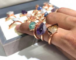 Raw types Stones Copper Rings 16 pcs BR 2443