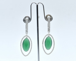 GREEN ONYX EARRINGS 925 STERLING SILVER NATURAL GEMSTONE JE101